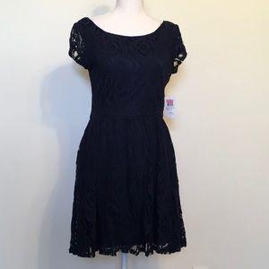 B. Darlin Lace Overlay Navy Fit & Flare Mini Dress